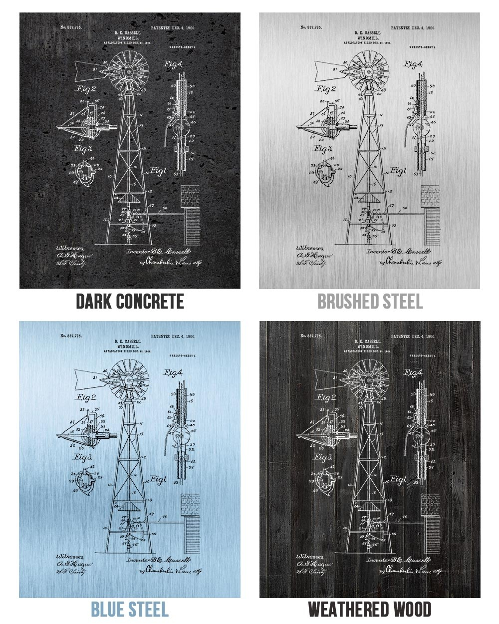 Vintage Windmill Poster; Patent Poster Unframed Agricultural Decor