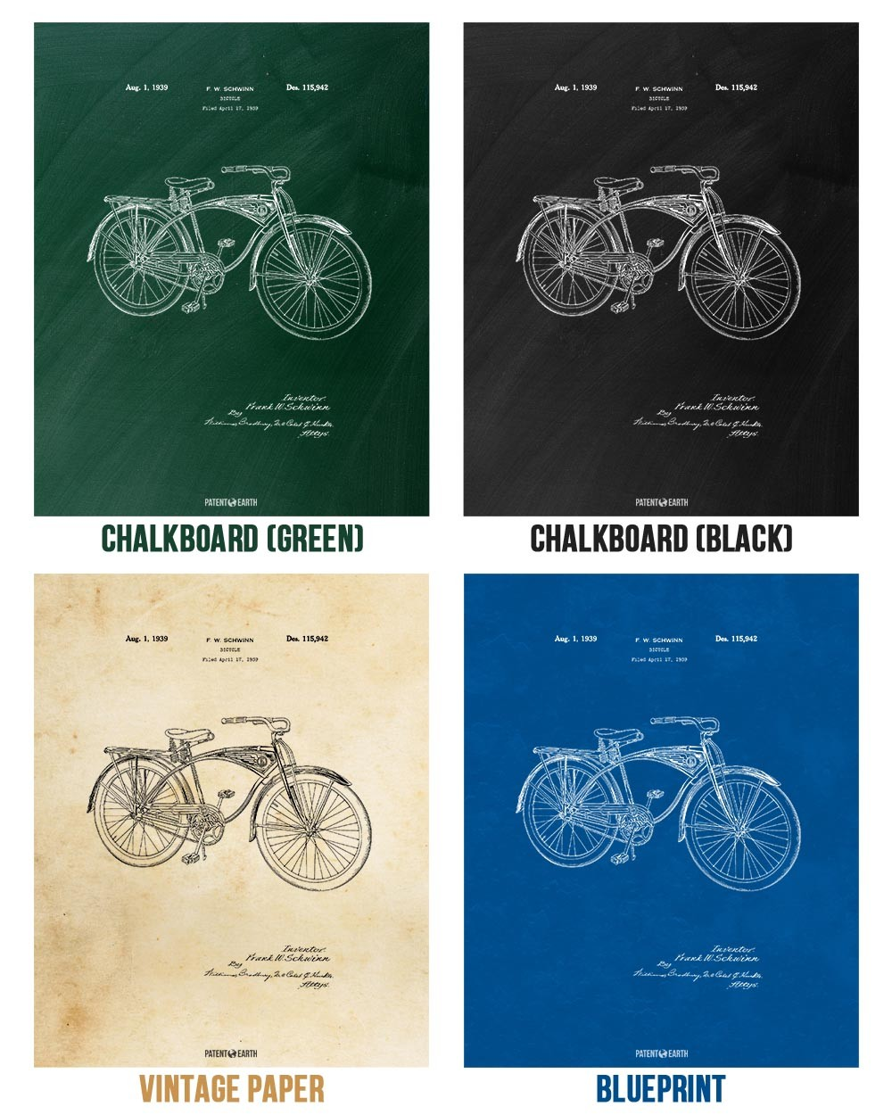 Schwinn Bicycle Canvas Print | Cycling Art Decor | Patent Earth