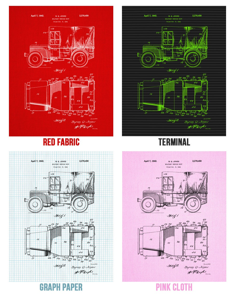 Willys Jeep Canvas Print   Truck Art Decor   Patent Earth