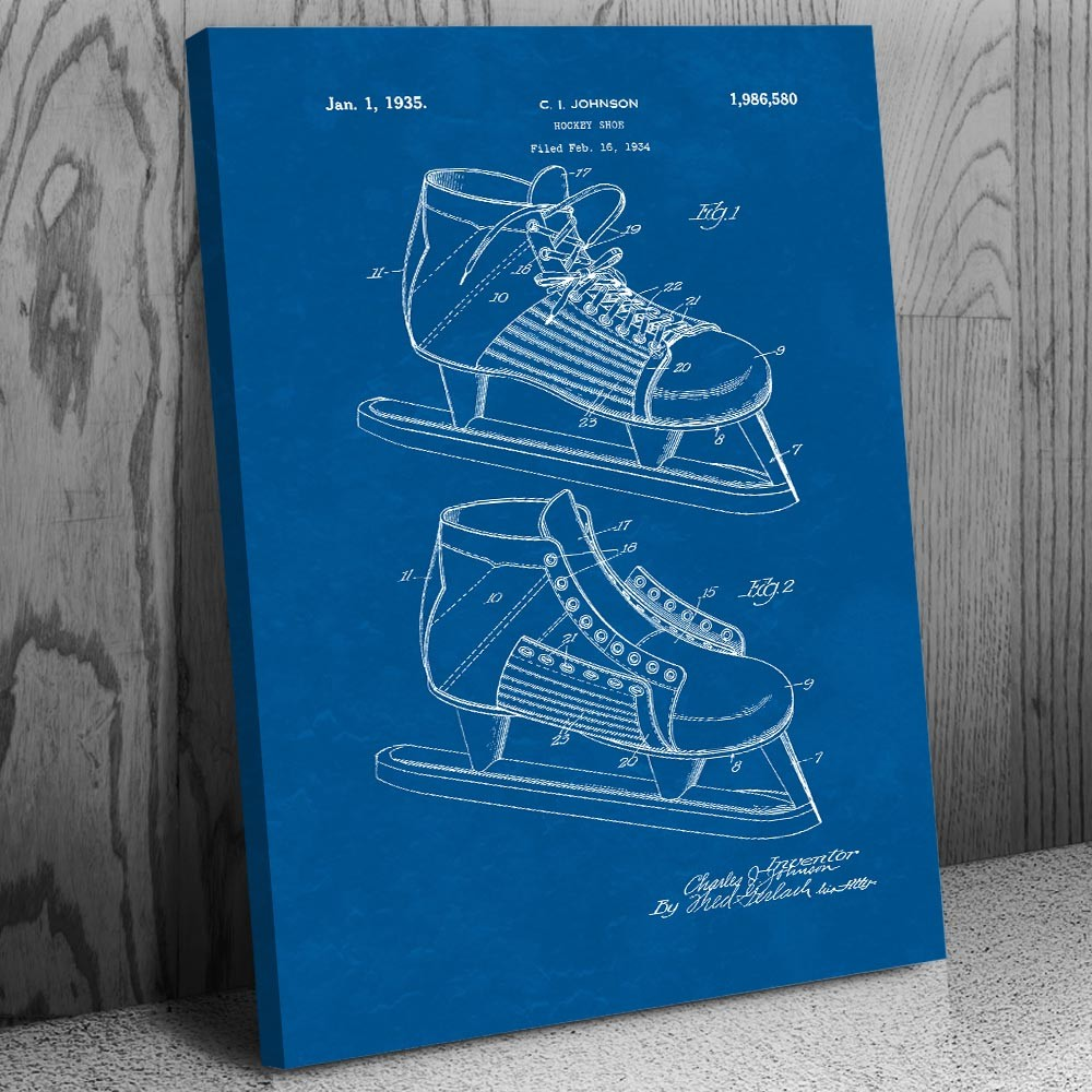 a04ef6586bf00 Hockey Ice Skate Canvas Print | Hockey Art Decor | Patent Earth