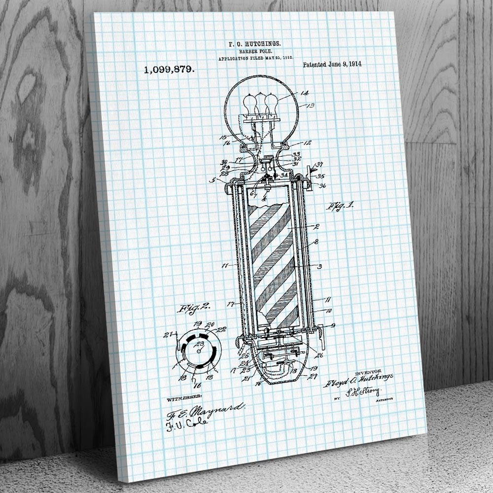 Barber Pole Canvas Patent Art Print Gift