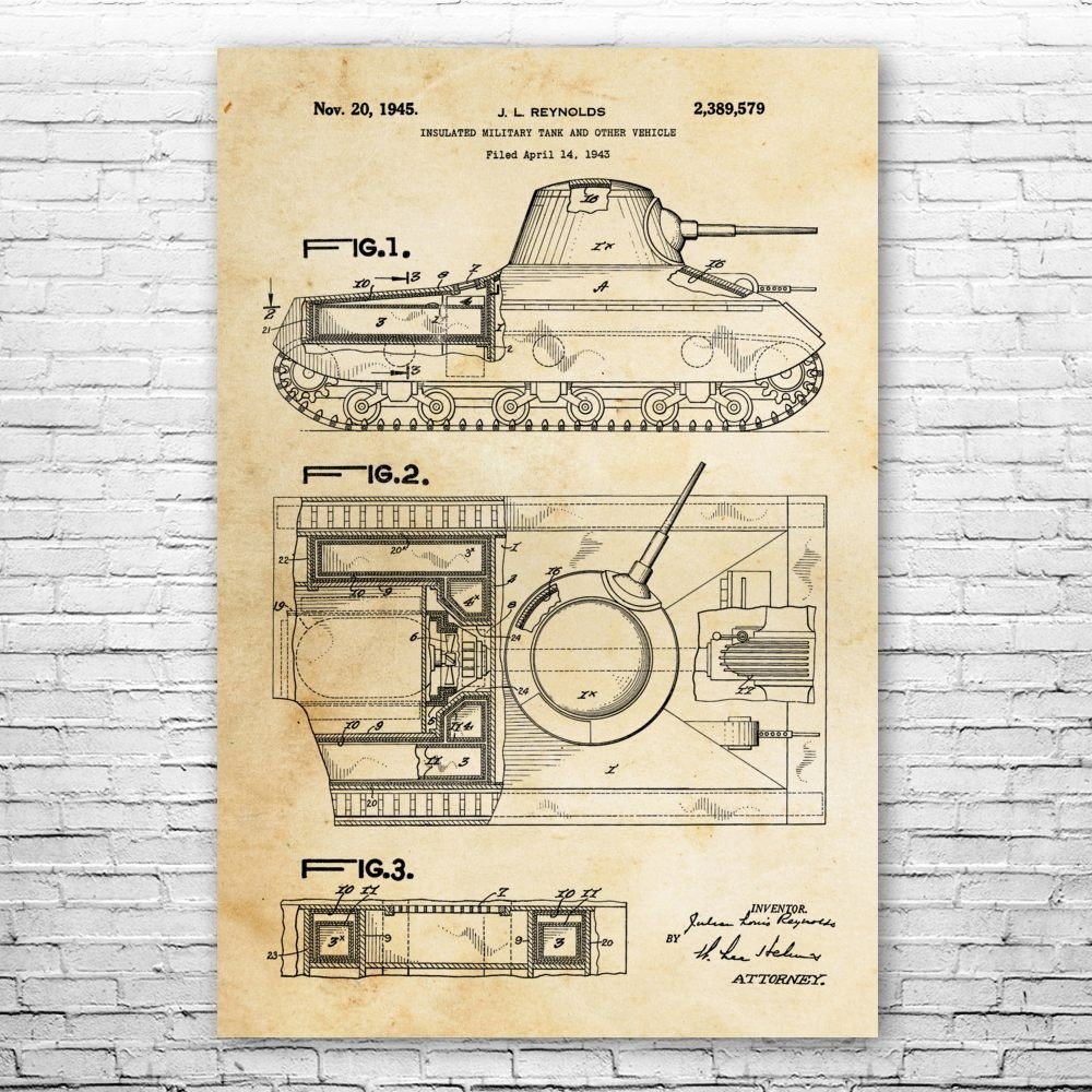 Vintage Poster Art Decor Gift Insulated Military Tank Patent Print Unframed