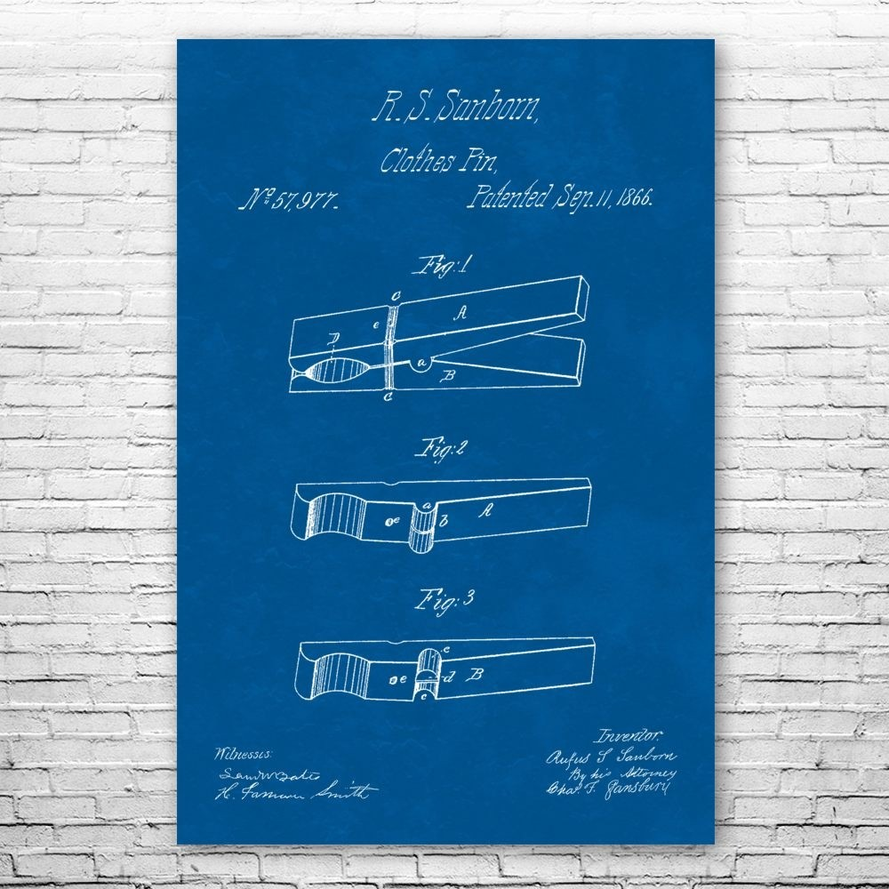 Clothes Pin Poster Print Housework Wall Art Patent Earth