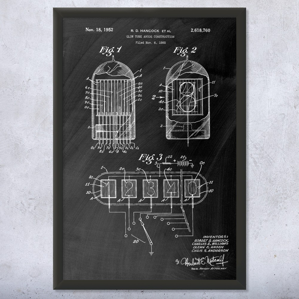 Nixie Tube Framed Print | Computer Art Decor | Patent Earth