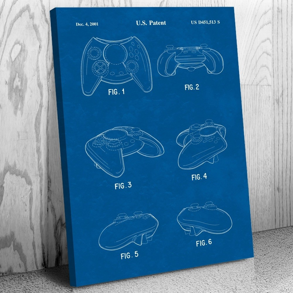 Video Game Controller Canvas Print Video Gaming Art Decor Patent Earth