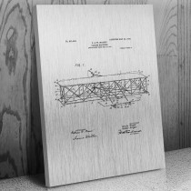 Wright Bros Airplane Flying Machine Front View Canvas Patent Art Print Gift