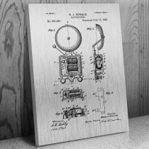 Fire House Alarm Bell Canvas Patent Art Print Gift