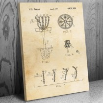 Disc Golf Goal Canvas Patent Art Print Gift